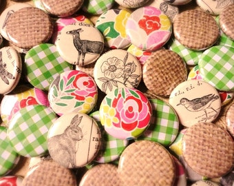 Handmade Wedding Favors - Ready To Ship - 100 1 Inch Pinback Buttons - Rustic Wedding Favors With Deer and Birds and Flowers and Gingham
