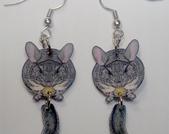 Handcrafted Plastic Chinchilla with Swinging Tail Dangle Earrings