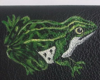Frog Custom Painted Leather Checkbook Cover