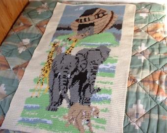 NOAH'S ARK Hand-crocheted Afghan or Wall Hanging