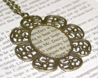 Literary Necklace - Pride and Prejudice - Jane Austen - Ready to ship