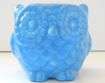 Owl Planter, Ceramic Owl, Mini Owl, Desk Planter, Candle Holder, Vintage Design, Turquoise Blue, Office Gift, Succulent Pot, Sponge Holder