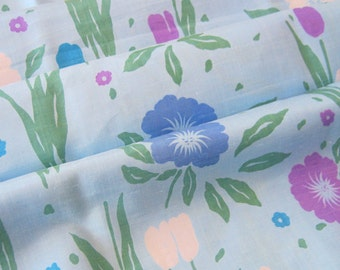 Vintage Sky Blue Floral Fabric Silky Retro Blooms 3 Yards