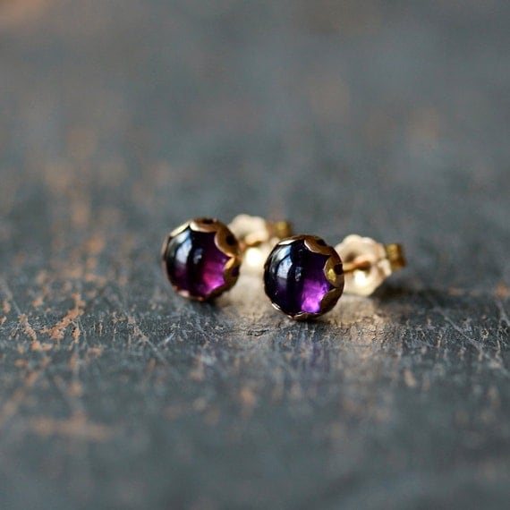 Amethyst and Gold Stud Earrings Scalloped Post Goldfilled Elegant Gemstone Jewelry, Shop Clementine