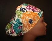 Euro Close Fit Allover Contemporay Floral Medical Surgical Scrub Hat Vet Nurse Chemo