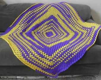 PURPLE and GOLD afghan,lapghan,blanket,throw