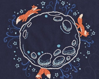 Moonlight Forest Embroidery Pattern PDF download hand embroidery patterns designs