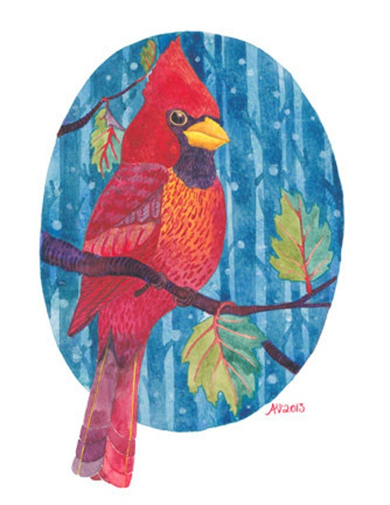 Snowy Cardinal Watercolour Art Reproduction Bird Wall Art