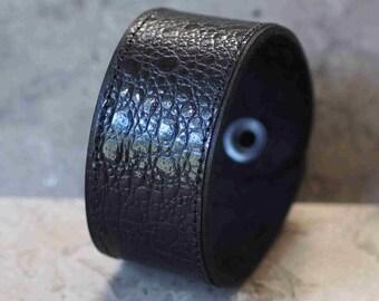 Genuine All Black Bullfrog & Cowhide Leather Cuff