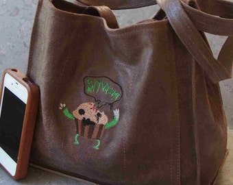 Zombie Bran Muffin Embroidered Leather Lunch Tote