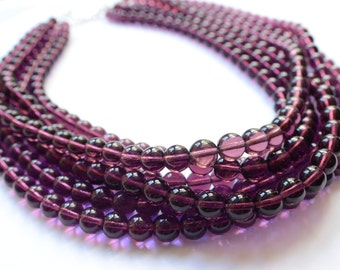 Michelle - Amethyst Glass Multi Strand Statement Necklace