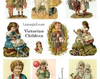 VICTORIAN CHILDREN digital collage sheet, vintage images girls boys kids, nursery cards pictures altered art ephemera, DOWNLOAD printables