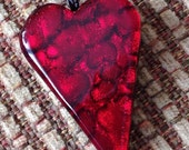 Dichroic red glass heart pendant necklace valentine