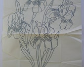 Vintage iron on embroidery transfer Iris