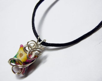 Wire Wrap Polymer Clay Fairy Pillow Pendant with Necklace - Design 4