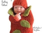 Knit Pattern - Pumpkin Baby Cocoon PDF - Infant Costume - Fast Easy diy