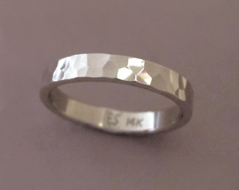 Hand Hammered Wedding Ring in 14k Palladium White Gold  - Polished or Matte - Choose a Custom Width