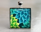 Dahlias in Blue and Green - Glass Tile Pendant in Silver Bezel - 1 Inch Square