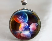 Rainbow Jellies - Jellyfish Glass Pendant in Silver Bezel Setting - 30mm round