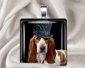 Steampunk Basset - Dog Pendant - Square Glass Tile Pendant Necklace