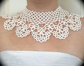 Tatted Lace Collar Choker Necklace - Timeless - White Embellished