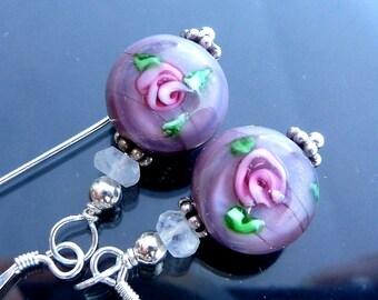 Victorian Lavender Rose Earrings in sterling silver lampwork glass rainbow moonstone discs pink flowers