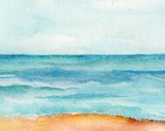 Seascape Watercolors Paintings Original, Longing for the Beach, ocean art, Beach decor, sand, sea and surf, SharonFosterArt
