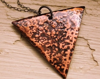 Rustic Triangle Necklace - Hammered Copper Pendant - Geometric
