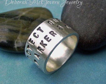 Double Lined wide Ring - bohemian modern rustic sterling silver Personalized custom HandStamped unisex Memory Ring sizes 5-13, fathers day
