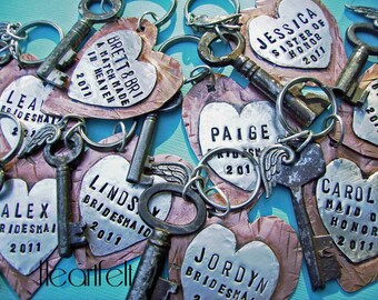 HEARTFELT Hand Stamped Rustic Antiqued Copper and Sterling Silver heart Key CHAIN, Custom Personalized Anniversary, Wedding, bridesmaid gift