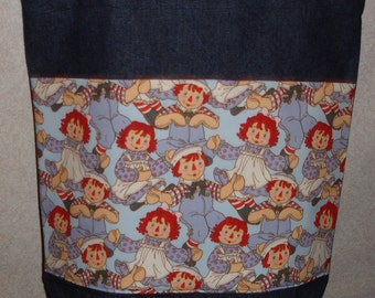 New Large Denim Tote Bag Handmade with Raggedy Ann Andy Blue Fabric