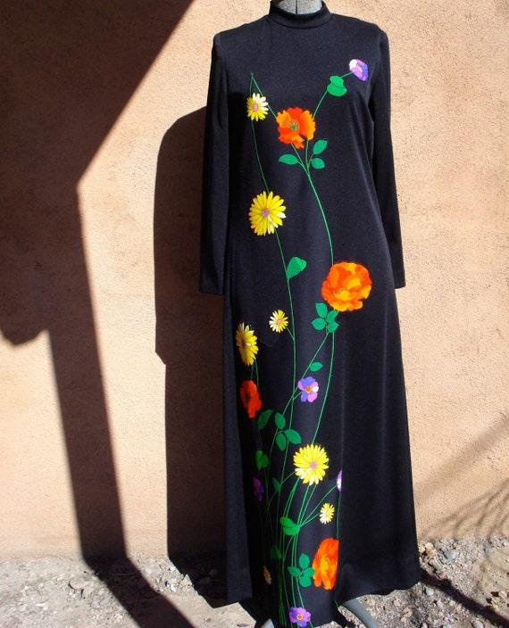 Vintage 1970s Black Dress Lillie Diamond Boho Maxi Maternity US 4 6 B35 2012213