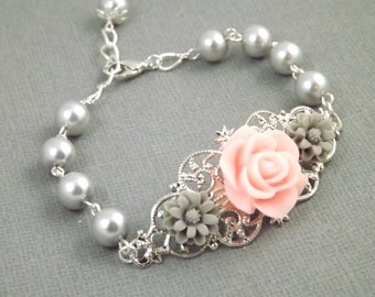 Pnk and Gray Silver Filigree Flower Bracelet