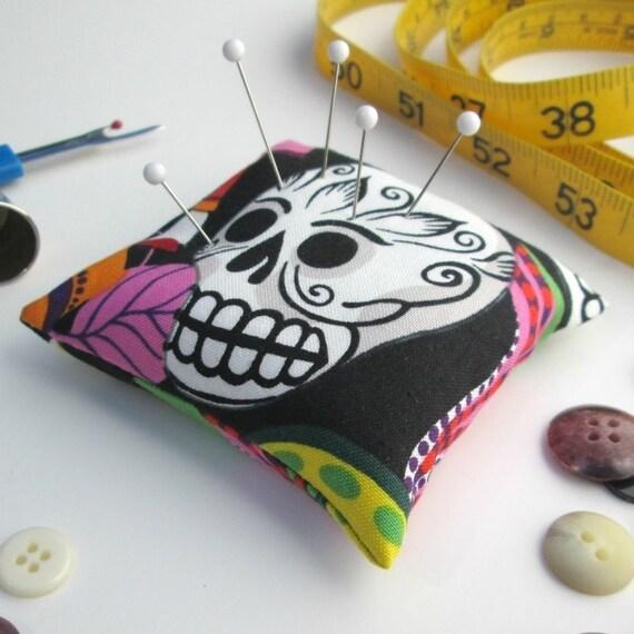 Large Emery Pincushion / Pin Cushion -  Day of the Dead - Sugar Skull