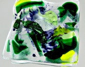 Green Fused Glass Soap or Trinket Dish or Candle or Jewelry Holder