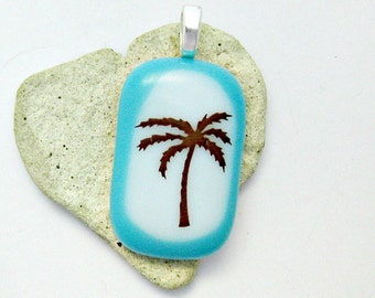 Palm Tree Fused Glass Pendant