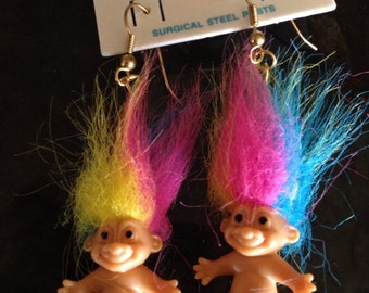 Rainbow Troll Doll Earrings circa 1990