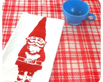 Gnome Tea Towel gnomes kitchen towels Screenprint retro kitchen cute Indie Housewares Gifts under 10 dollars woodland Spring time home decor