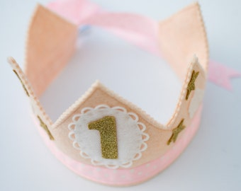Girl Birthday Crown, Pink and Gold, Pink Birthday, Gold Birthday, Star Birthday, Birthday Party Hat, Smash Cake Crown, Gold Ribbon, Birthday