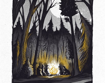 Campfire Conversations - Screenprinted Art Print