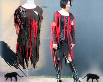 Bloody Zombie Dress XS to XL - Black  red & satin tatters OOAK Women Zombie Dress upcycled clothing Custom adult Halloween Costume