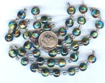 Gorgeous Multi Color Gold Foil Round Beads 8mm 6 pcs