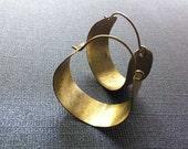 Gold Hammered Hoops Earrings (Brass) Small - Jazjewelz
