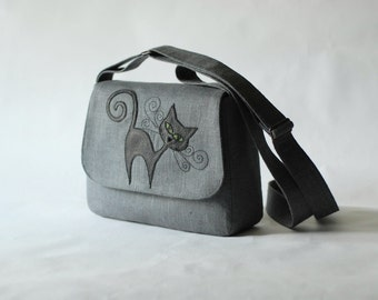 Small linen messenger bag - gray - black leather cat with green eyes applique