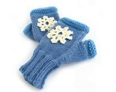 Blue fingerless mitts, handknitted fingerless gloves, knit handwarmers, snowflake mittens, fall accessories, womens winter clothing, uk