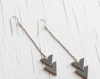arrow earrings geometric jewelry in slate chevron on a sterling silver chain
