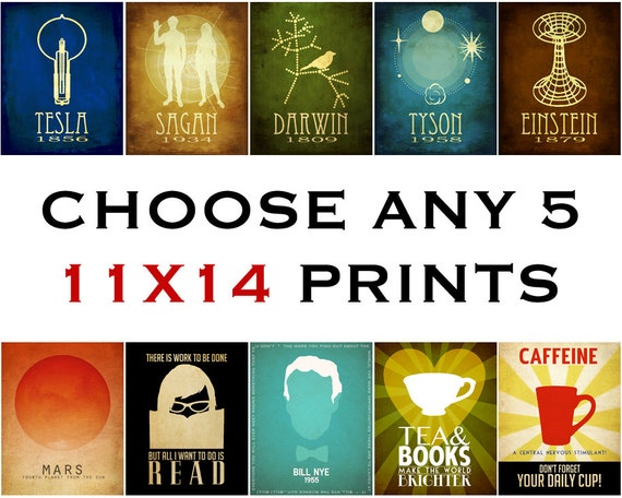 Any Five 11x14 Prints - Science Art, Astronomy Poster, Geek Art, Reading Poster, Library Art, Cafe Decor, Dorm Art, Office Art
