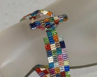 Grandma's Wild Patchwork ... Beadwoven Bracelet . Narrow . Jewelry . Peyote . Geometric . Multicolor . Metallic . Squares . Colorful