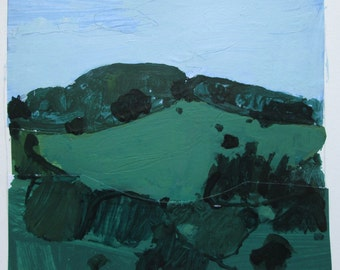 Tommy's Hill, Heatwave, Original Landscape Collage Painting on Paper, Stooshinoff