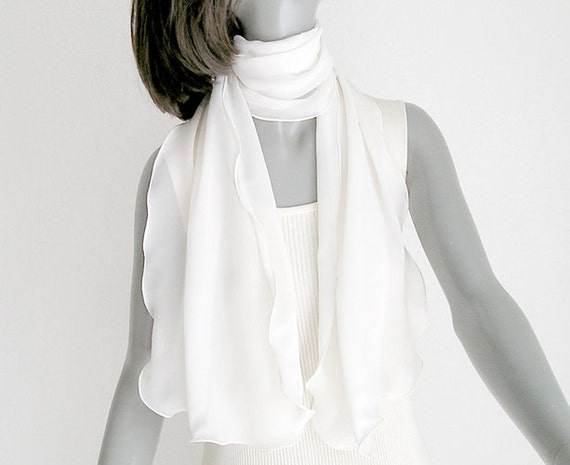 RESERVED - Ivory Silk Chiffon Scarf 100%  Silk Chiffon 10mm Individually Hand Dyed One of a Kind.